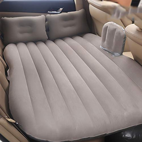 SUV Flocking Car Inflatable Bed, Back Seat Mattress Airbed with Pump and Pillows for Rest Sleep Travel Camping Pad CIM0906 (Color : Gray) by ZCY-Auto Mattress