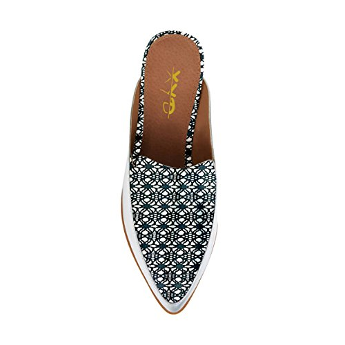 XYD Chic Pointed Toe Mule Flats Easy Walking Low Heel Slide Loafer Shoes For Women Printed XBGPq0mt