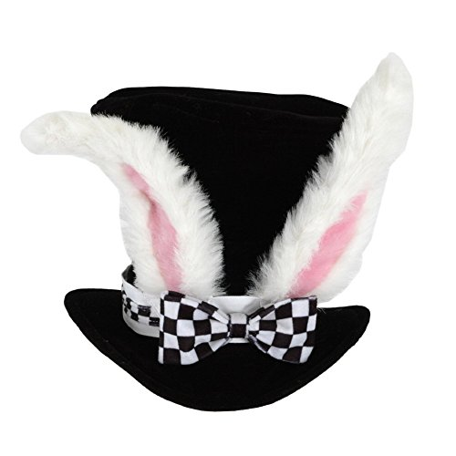 Jacobson Hat Company Men's Velvet Bunny Ear Top Hat with Checkered Bow Tie, Black, Adult - Bunny Costume Man