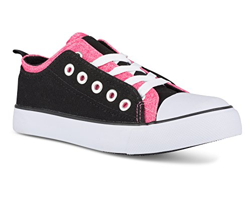 Twisted Girl's Canvas KIX Double Upper Lo-Top Sneaker - Black/NeonPink, Size 11