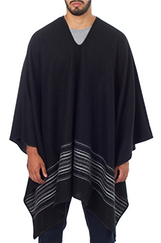 NOVICA Black Men's Alpaca Blend Poncho, 'Black Nazca' by NOVICA