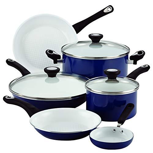 Farberware PURECOOK Ceramic Nonstick Cookware 12-Piece Cookware Set, Blue (Renewed) (Farberware Purecook Ceramic Nonstick 12 Piece Cookware Set)