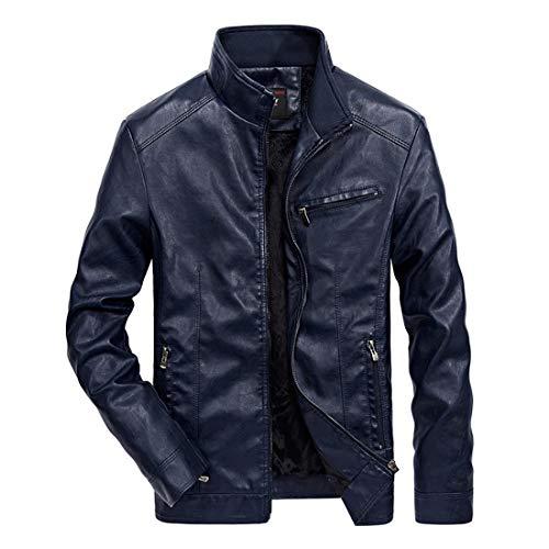 - Nantersan Men's Leather Jacket Stand Collar PU Mens Faux Fur Coats Motorcycle Jacket