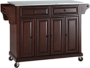 picture of Crosley Furniture Rolling Kitchen Island with Stainless Steel Top, Vintage Mahogany