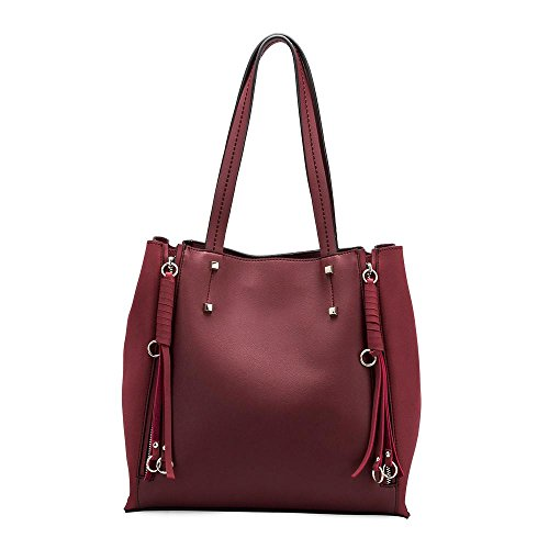 Melie Bianco Kelly Women's Large Top Handle Everyday Tote with Expandable Sides and Top Zipper Closure - Burgundy (Melie Bianco Handbag Tote)
