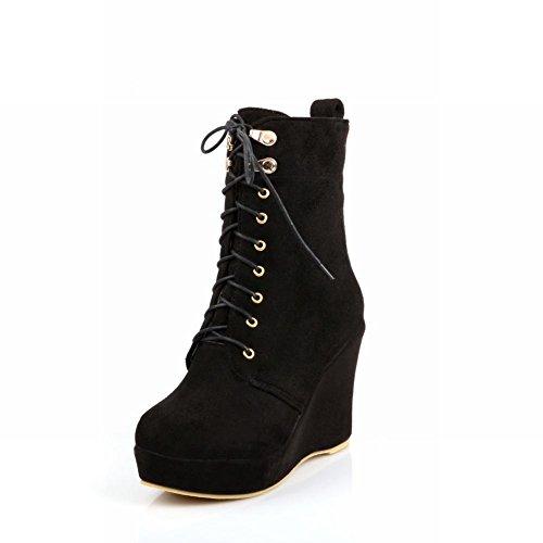 Carol Martin Lace Shoes Women's Casual Concise Wedges Boots Black Up Platform BqB6wf8r