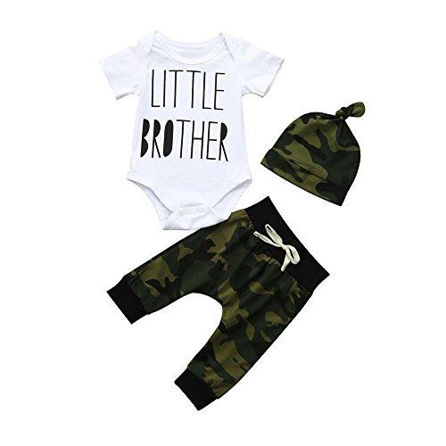 iYBUIA Newborn Infant Baby Boy Letter Romper O-Neck Tops+Camouflage Pants Hat 3Pcs Clothes Set(White,70)