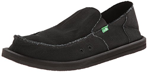 Sanuk Men's Vagabond Slip On, Blackout, 12 M (Distressed Canvas Slip Ons Shoe)