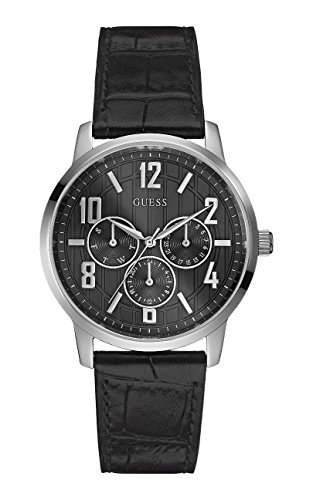 Guess Men's Original Black Leather Analog Day-date Watch W0604G1