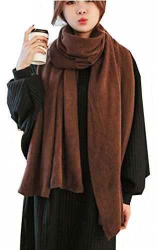 Womens Brown Wool - Wander Agio Womens Warm Long Shawl Winter Upset Large Scarf Pure Color Coffee