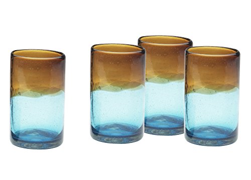 Amici Monterey Highball Glass, 16 oz - Set of 4 Amber Blown Glass