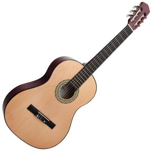 Classic Cantabile AS-851 4/4  Konzertgitarre Natur (Akustikgitarre , geeignet für Kinder im Alter ab 12 Jahren, Bundmarkierung, Nylonsaiten)