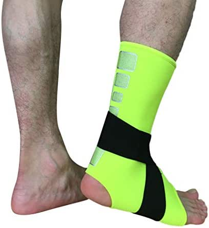 Jinjin Ankle Care Sports Men and Women Ankle Care Breathable Ankle Foot Support Set Compression Wrap Sports Bandage Ankle Compression Socks Plantar Fasciitis Socks (M, Green)