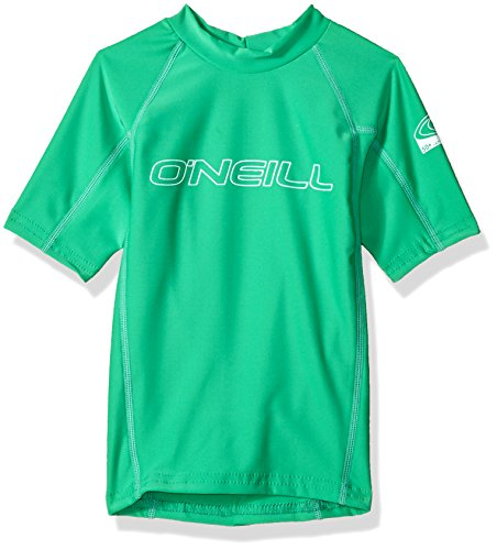 O'Neill Wetsuits UV Sun Protection Youth Basic Skins Short Sleeve Crew Sun Shirt Rash Guard, Sea Glass, 6