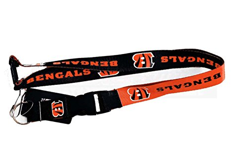 Bengals Key (NFL Cincinnati Bengals Reversible Lanyard, One Size, Multi, One Size, Black)