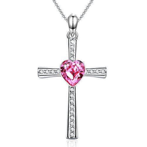 er Day Lord Bless You Cross Pendant Necklace Jesus Christ Religious Jewelry Pink Heart Crystals from Swarovski Birthday Gifts for Women Wife (Easter Cross Necklace)