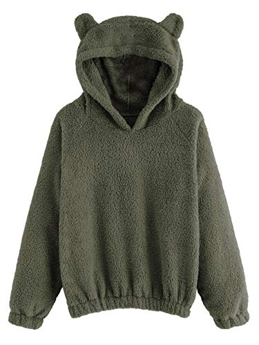 SweatyRocks Women's Warm Sherpa Pullover Shirt Cute Ear Long Sleeve Sweatshirt Hoodie Top Green L