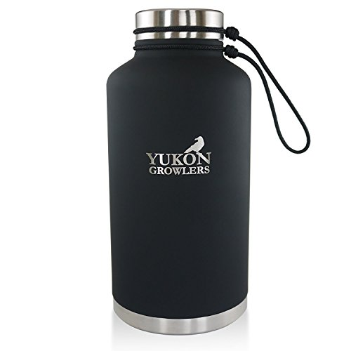 YUKON GROWLERS - Keep Your Drink Cold for 24 Hours or Hot for 12 Hours with this Vacuum-Insulated Stainless Steel Water Bottle - 64 oz (Coal)