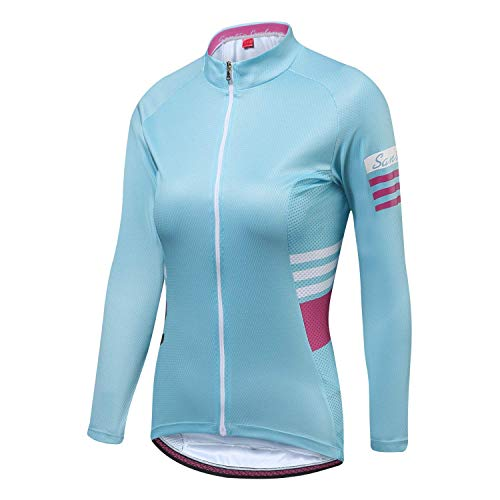 - Santic Cycling Jersey Women's Long Sleeve Tops Bike Shirts Bicycle Jacket with Pockets Blue