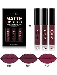 Coosa 3PCS of 3 Colors Madly MATTE Lipstick Non-stick Cup Waterproof Lipgloss-Set A
