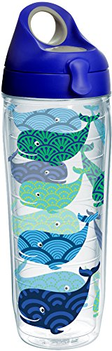 (Tervis 1231164 Whale Pattern Insulated Tumbler with Wrap and Blue with Gray Lid, 24oz Water Bottle, Clear)