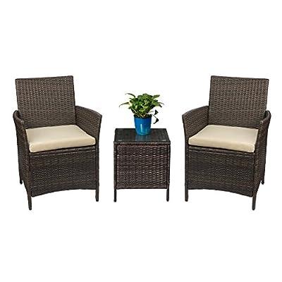 Devoko Patio Porch Furniture Set 3 Piece PE Rattan Wicker Chairs Beige Cushion With Table Outdoor Garden Furniture Sets
