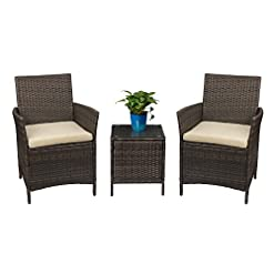 Garden and Outdoor Devoko Patio Porch Furniture Sets 3 Pieces PE Rattan Wicker Chairs with Table Outdoor Garden Furniture Sets (Brown/Beige…
