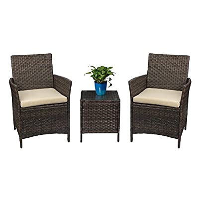 Devoko Patio Porch Furniture Sets 3 Pieces PE Rattan Wicker Chairs with Table Outdoor Garden Furniture Sets (Brown/Beige) - - Sturdy & Durable: Devoko rattan patio furniture set is made of brown PE rattan and strong steel frame, It is durable enough to withstand rain and wind for long time using. Featuring sturdy construction and durable rattan, this porch furniture set can withstand the test of time and high temperature. - Comfortable & Convenient: Soft sponge-filled seats give you extra comfort, and the covers can be removed for easy clean and maintain. Toughened glass is strong and light, which can be swabbed or washed with water. - Wide Applications: Good choice for patio, porch, backyard, balcony, poolside, garden and other suitable space in your home, which perfect for indoor & outdoor using and meet the purpose of decorating the leisure places you need. - patio-furniture, patio, conversation-sets - 411fPmSFixL. SS400  -