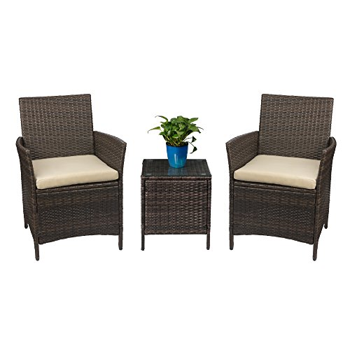 Devoko Patio Porch Furniture Set 3 Piece PE Rattan Wicker Chairs Beige Cushion with Table Outdoor Garden Furniture Sets (Brown) (Wicker Porch Furniture)