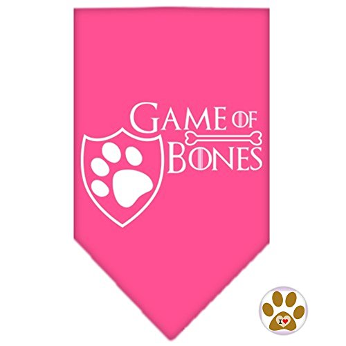 Mirage Pet Game of Bones Bandana Scarf and Pin Set - in Color Pink - Dog Sizes Small Thru Large (Small (fits 8