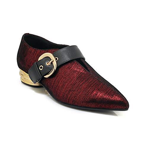 Shoes Toe Lsm Heel Heels Pointed Red Women's Block xqCqZYFw