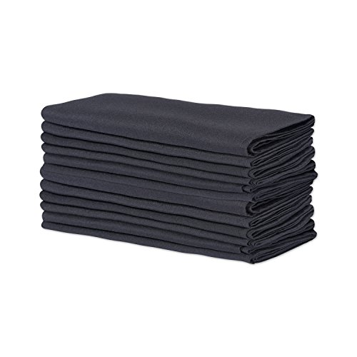 E-Living Store Polyester Commercial Quality Heavy Duty Cloth Napkins (18x18-inch) for Restaurant or Home Table, Bulk Set of 12, Black by E-Living Store
