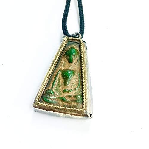 Vintage Circa Sitting Buddha Necklace - Handcrafted Pendant Jewelry from Thailand - Thai Chakra Dharmachakra Medallion - Good Luck Protection Healing - Zen Boho Bohemian - Men & Women (Jade Green) -