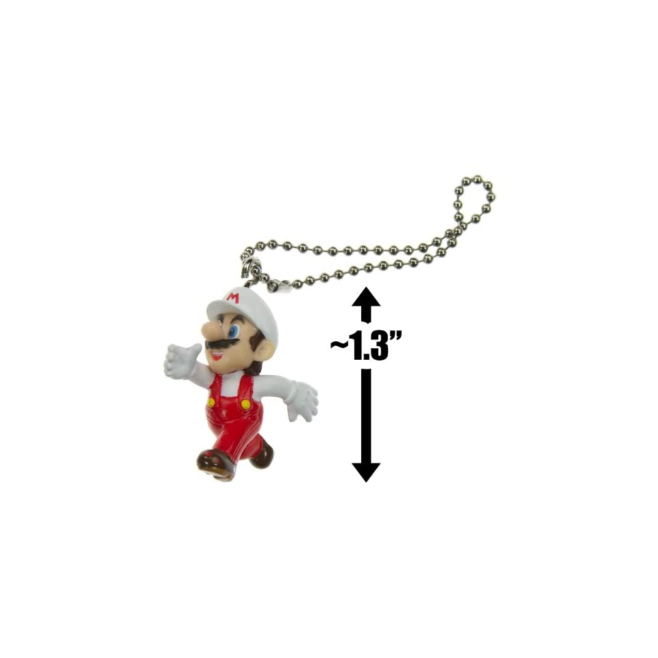 Fire Mario ~1.3 Mini Figure Keychain   New Super Mario Bros Wii Series (Japanese Import)