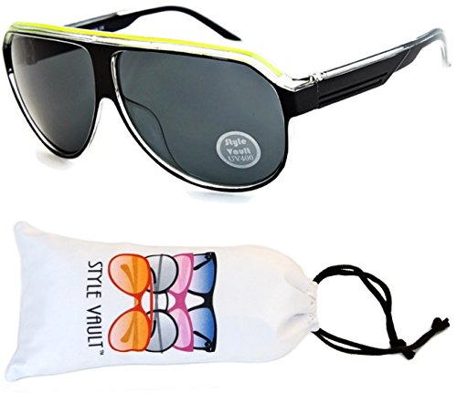 A07-vp Aviator Retro Millionaire Sunglasses (B1626F Black/Neon Yellow/Clear, ()