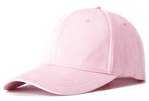 Edoneery Men Women Cotton Adjustable Washed Twill Low Profile Plain Baseball Cap Hat(Pink)