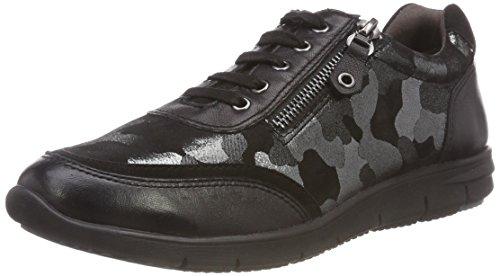 Mujer Camou para Caprice 23601 de Cordones Comb Blk Zapatos Negro Derby 43 xCYfwqZY