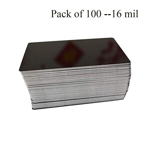 RETERMIT 100pcs Laser Engraved Metal Business Cards Blanks 3.4x2.1in Thickness 16 mil (0.40mm) Stainless Steel Business Cards Aluminum Business Cards (Black) by RETERMIT (Image #1)