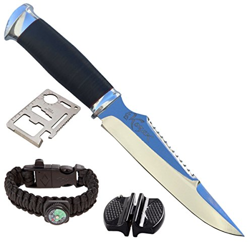 Custom Fixed Blade Knife with Leather Sheath, Sharpener, Survival Bracelet, and Wallet Multi-tool by Kozak