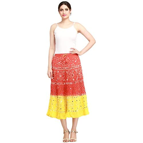8ae57ac0e Exotic India Bandhani Tie-Dye Skirt from Jaipur with Large Sequins  well-wreapped