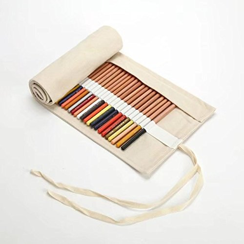 Creative Canvas Roll Up Pencil Case Large Capacity Pen Pencil Pouch Holder Color Pencils Wrap Stationery Case Pencil Organizer for Student Artist Traveler Gifts White 36 Slots