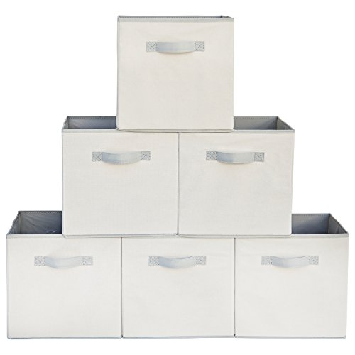 Squared Home Solutions Fabric Storage Cube Bins, Cream Gray (Set Of 6)