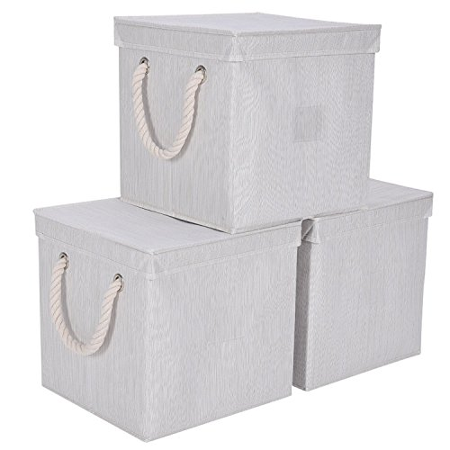 Storage Cube Box With Lid, Foldable Basket Organizer Bin With Strong Cotton Rope Handle By Storageworks ,White, Bamboo Style, Large, 11.8x11.8x11.9 inches, 3-Pack