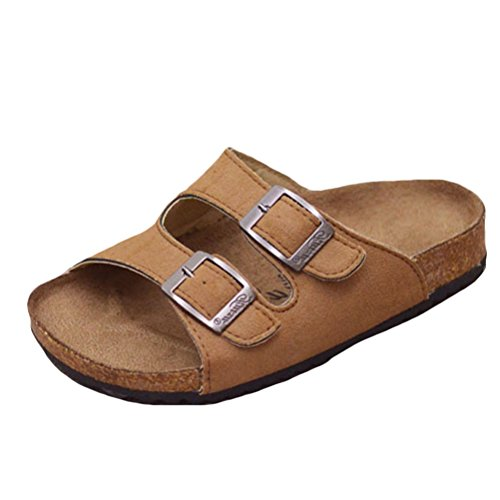 Mallimoda Girls Boys Buckle Cork Sole Slippers Sandals Flip Flops Brown 1M US Little Kid