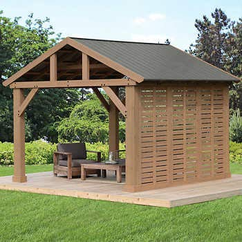 (12' Pavilion Privacy Wall ONLY Compatible with Yardistry's 14 x 12 Wood Pavilion)