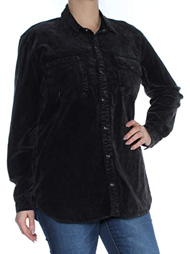 Velour Long Jacket Sleeve - Lucky Brand Womens Velour Jacket Button-Down Top Black XL