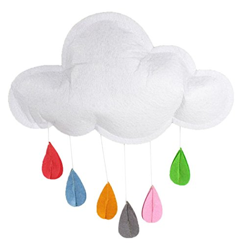 Sunbona Kids Home Decor,Children Baby Room Hanging Cloud and Raindrop Photo Photography Props (White)