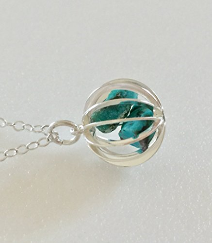 Genuine Turquoise Cage Pendant, Raw Turquoise Nuggets, December Birthstone, Gemstone Cage Pendant, Sterling Silver. ()