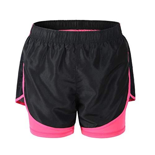 Deargles Womens Running Yoga Sport Shorts Training Shorts with Lining,2 in 1 Running Shorts Black &Pink M (Running In Pink)