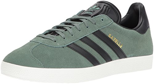 - adidas Originals Gazelle Sneaker,TRACE GREEN/BLACK/METALLIC GOLD,11 Medium US